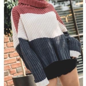 POL Colorblock Turtleneck Sweater
